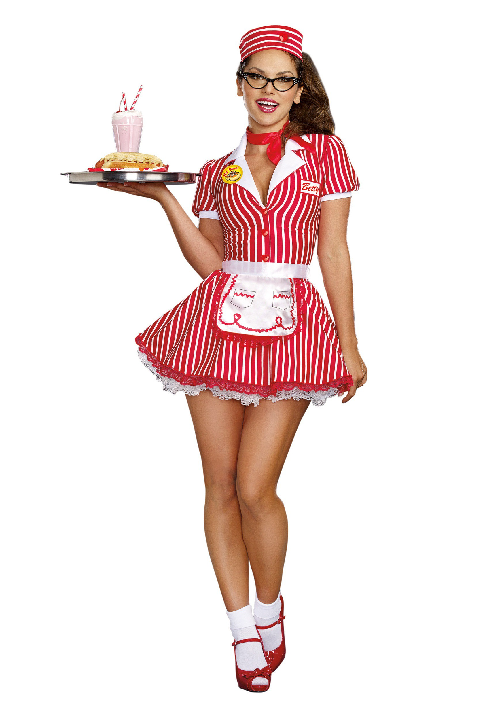 Diner Uniform Costume Women's Diner Doll Costume