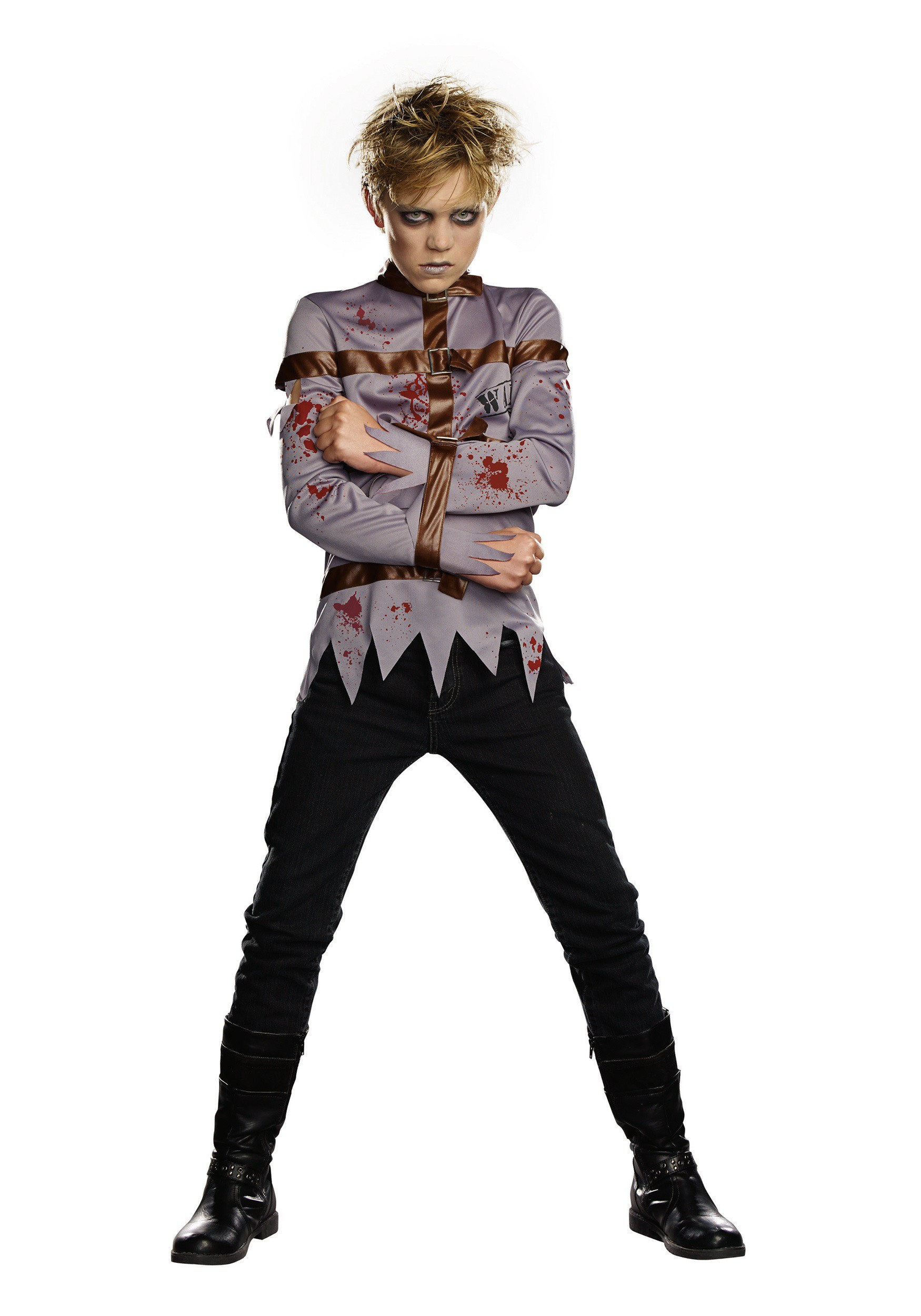 Boys&39 Dark Straight Jacket Costume