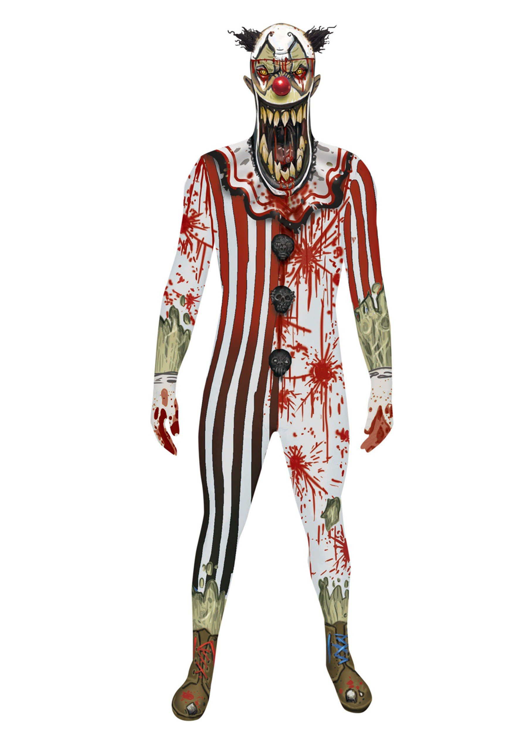 sc 1 st  Halloween Costumes & Adult Scary Clown Jaw Dropper Morphsuit