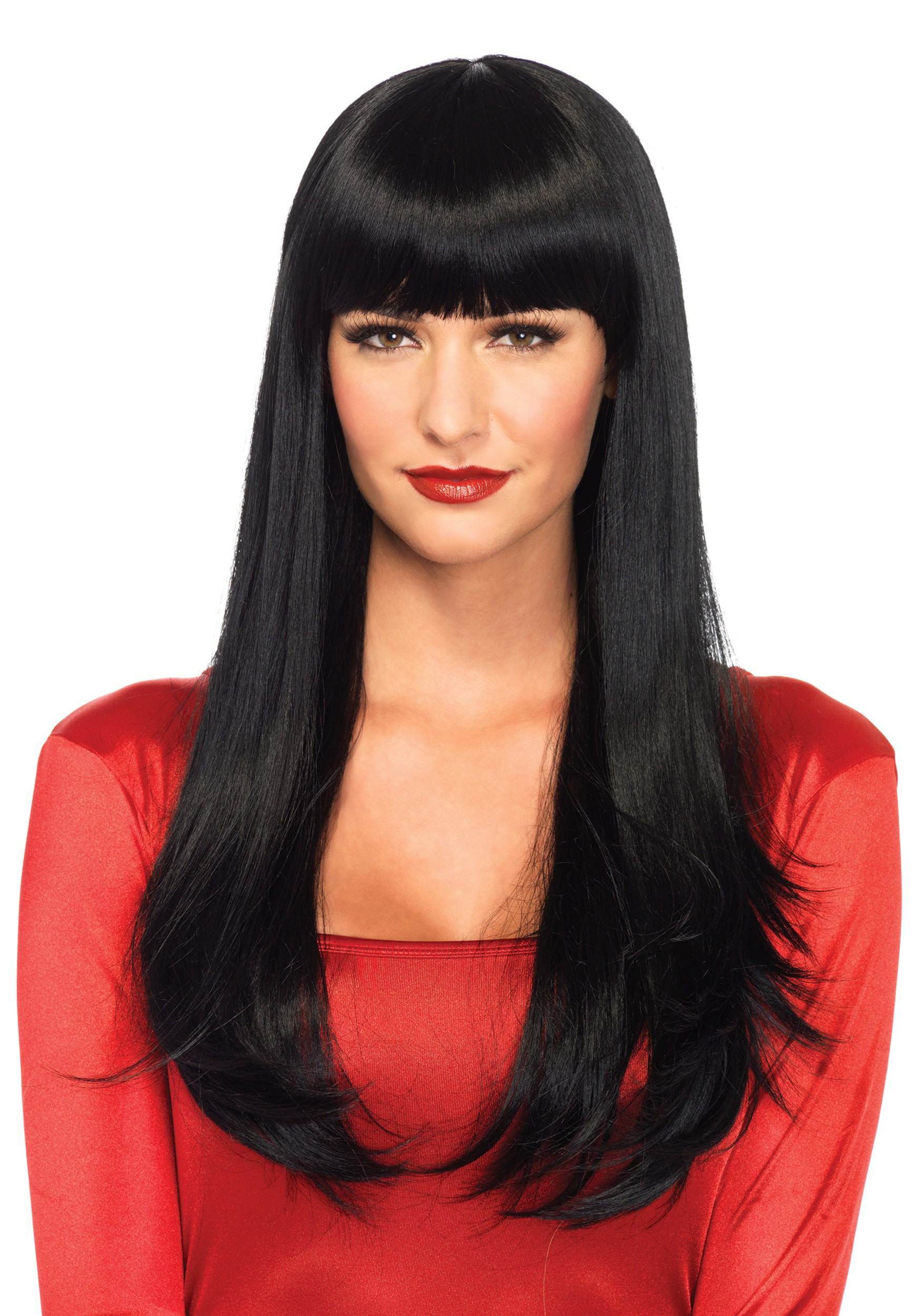 Halloween Decorations For The Home Black Straight Wig With Bangs