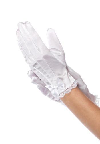 White Silk Gloves For Girls