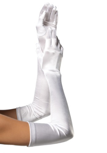 Extra Long White Satin Gloves By: Leg Avenue for the 2015 Costume season.