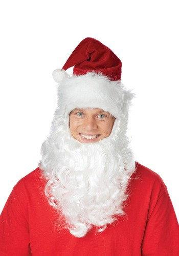 Click Here to buy Santa Hat w/Attached Beard from HalloweenCostumes, USA Funds & Shipping