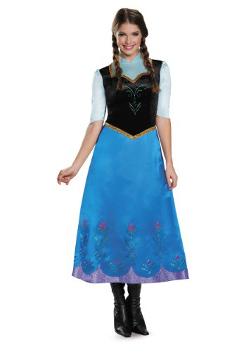 Click Here to buy Frozen Traveling Anna Deluxe Costume from HalloweenCostumes, CDN Funds