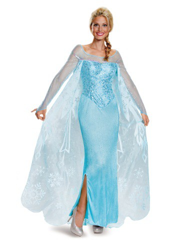 Click Here to buy Frozen Adult Elsa Prestige Costume from HalloweenCostumes, CDN Funds
