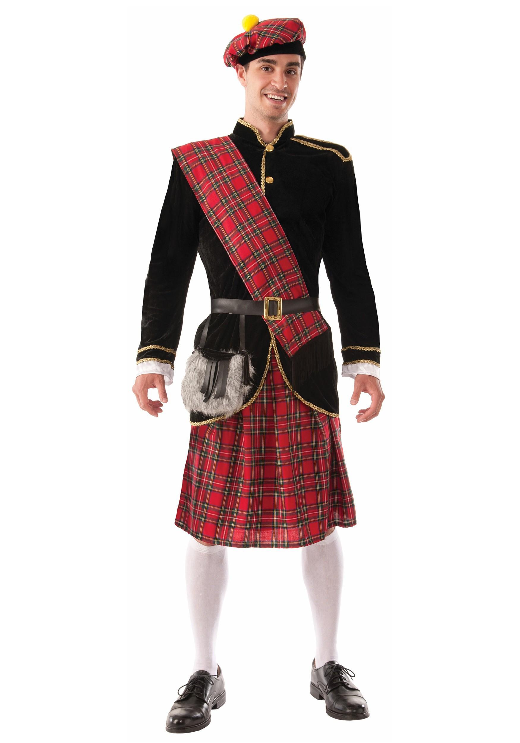 Adults Scottish Fancy Dress Costume Scotsman Red Tartan Novelty Accessories
