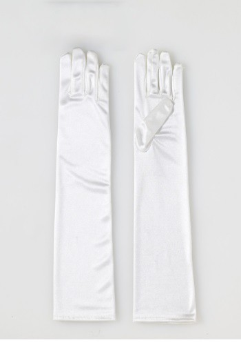 Adult Long Beige Satin Gloves