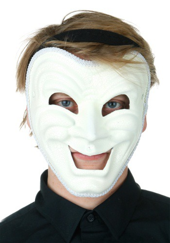 White Comedy Mask for Adults