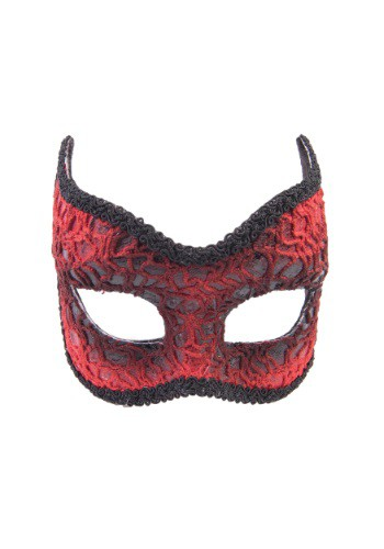 Adult Red Lace Devil Mask FO75147-ST