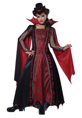 Click Here to buy Girls Victorian Vampira Costume from HalloweenCostumes, USA Funds & Shipping