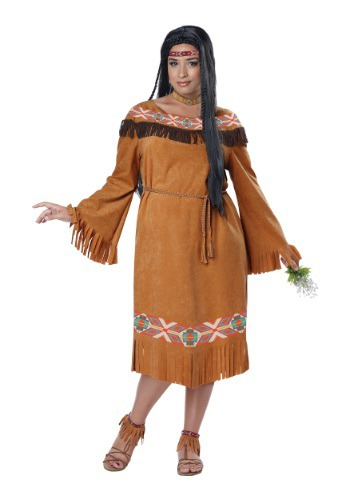 Click Here to buy Classic Native American Maiden Plus Size Womens Costume from HalloweenCostumes, USA Funds & Shipping