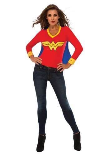 Womens Wonder Woman Sporty Tee w/ Cape
