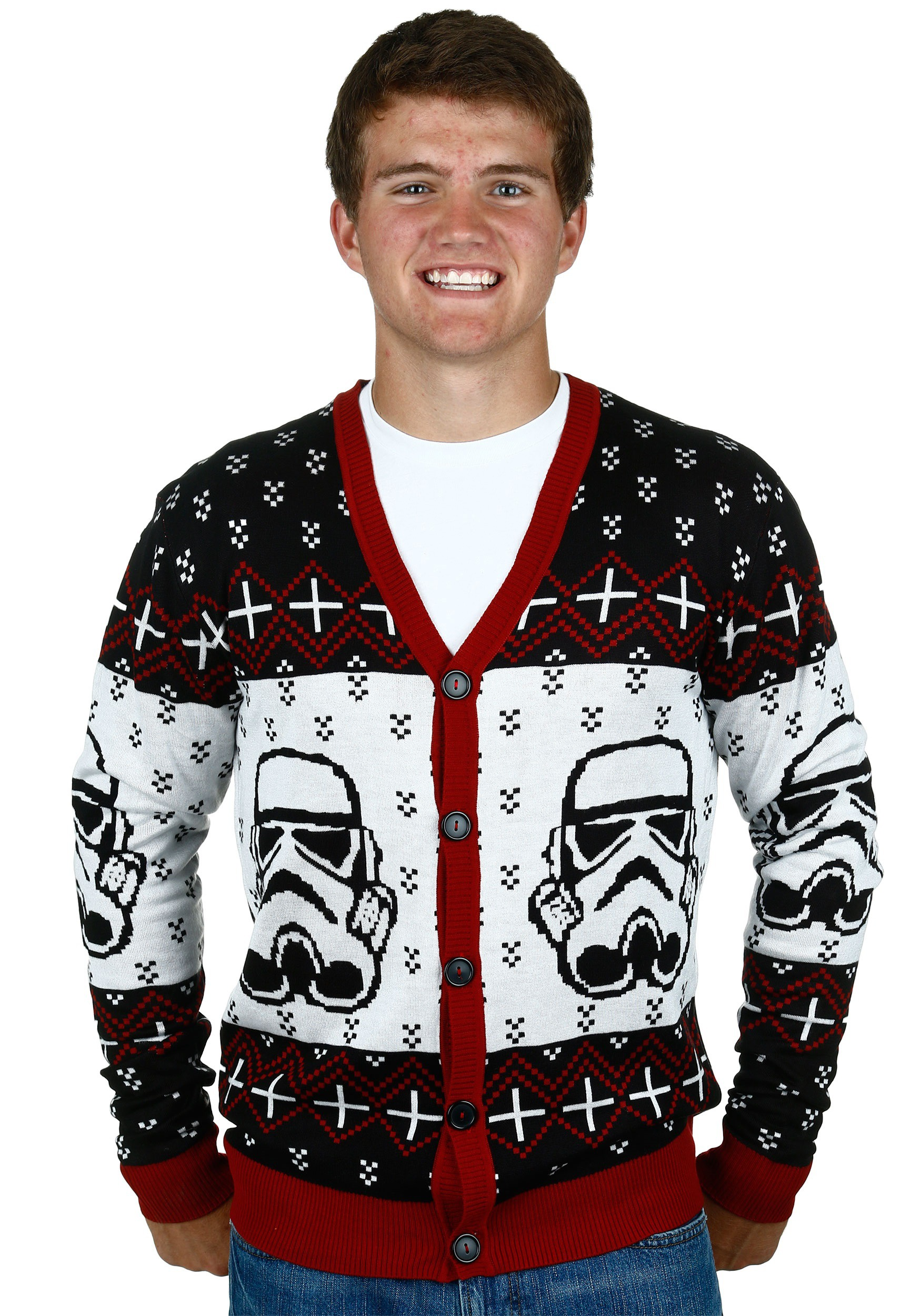 star wars stormtrooper ugly sweater cardigan mens - Cheap Mens Ugly Christmas Sweater