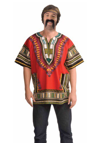 Adult Red Dashiki Shirt for Men