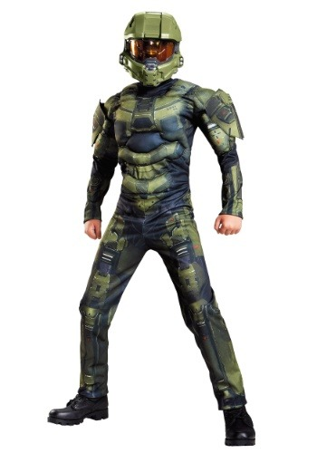 Click Here to buy Boys Master Chief Classic Muscle Costume from HalloweenCostumes, CDN Funds