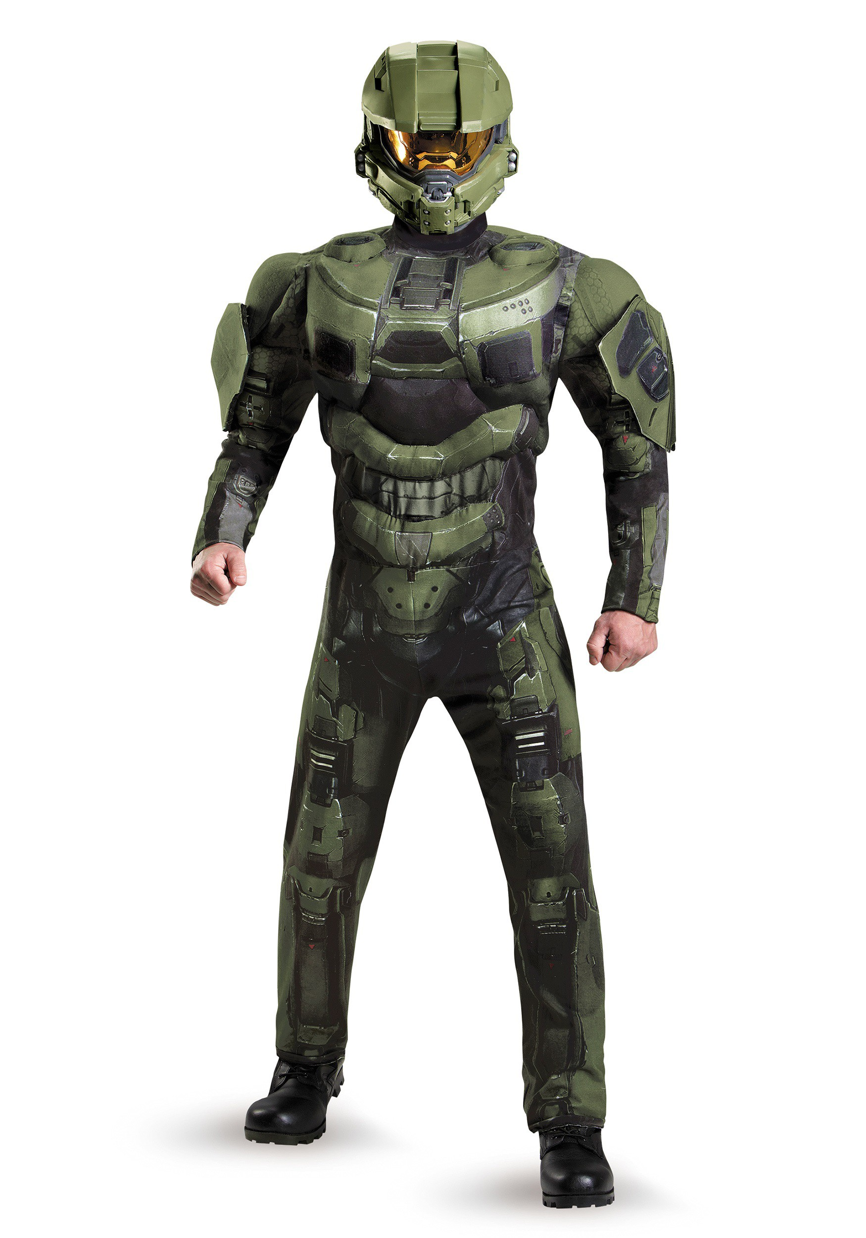 plus size deluxe muscle master chief costume. Black Bedroom Furniture Sets. Home Design Ideas