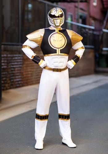 [White Ranger Classic Muscle Adult Costume] (White Ranger Adult Costumes)