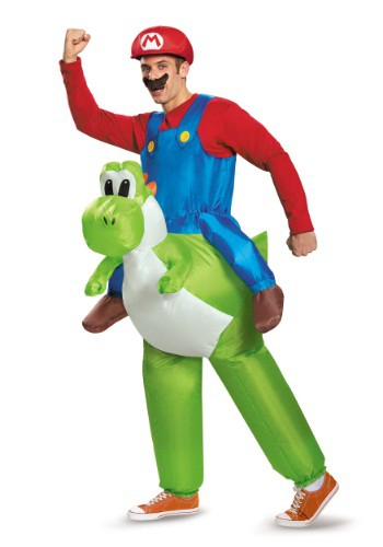 Click Here to buy Mario Riding Yoshi Adult Costume from HalloweenCostumes, USA Funds & Shipping