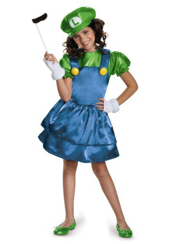 Click Here to buy Girls Luigi Skirt Costume from HalloweenCostumes, USA Funds & Shipping