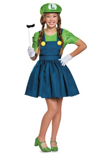 Click Here to buy Tween Luigi Skirt Costume from HalloweenCostumes, USA Funds & Shipping