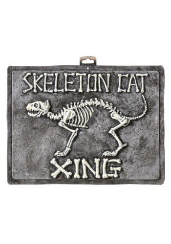 Skeleton Cat Sign