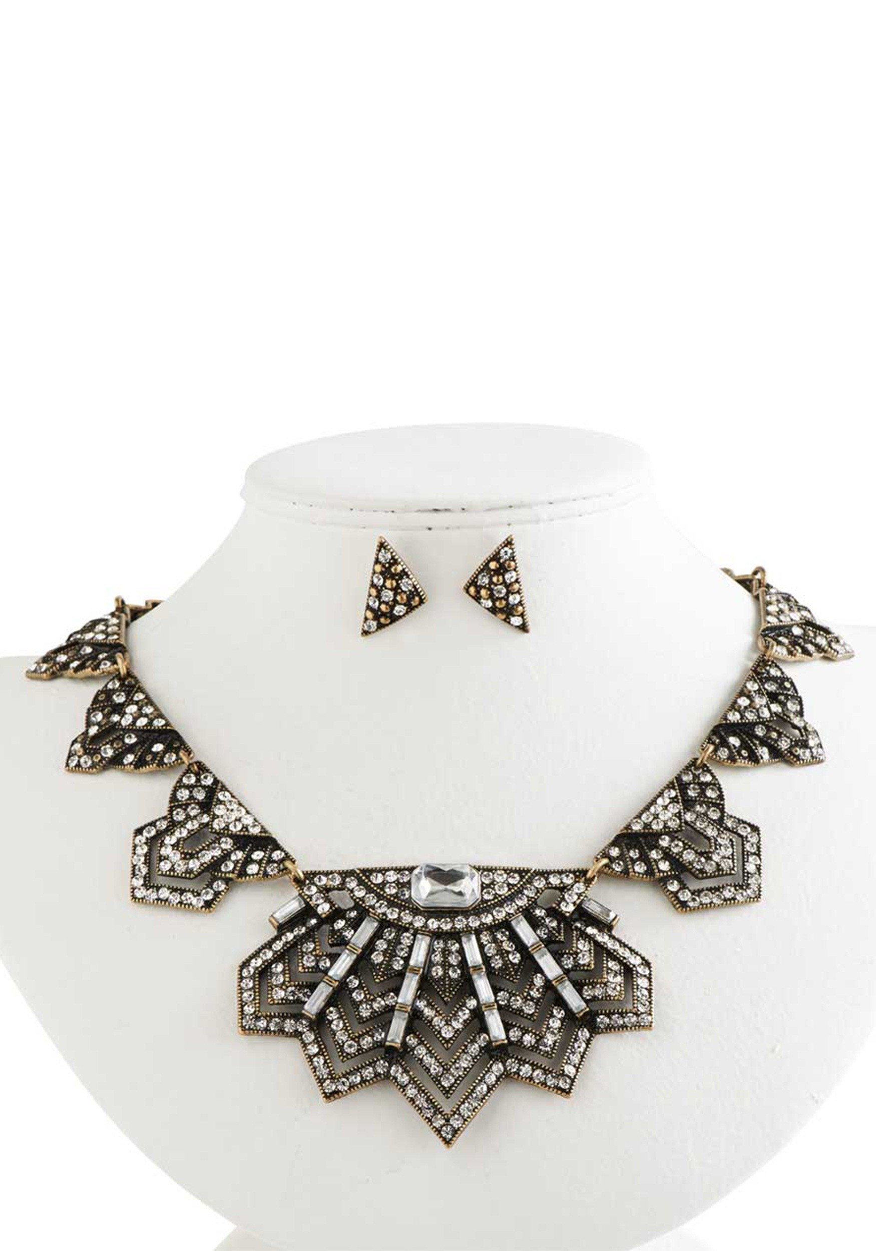 antique gold crystal vintage style statement set