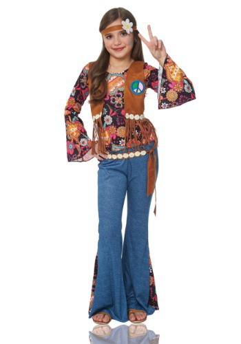 Click Here to buy Girls Peace Out Hippie Costume from HalloweenCostumes, CDN Funds
