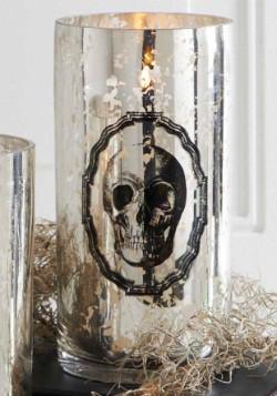 "7.75"" Mercury Glass Skull Print Vase"