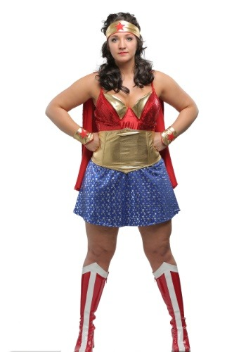 Womens Plus Size Wonder Lady Costume-2404