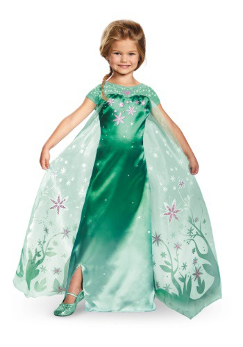 Click Here to buy Girls Deluxe Frozen Fever Elsa Costume from HalloweenCostumes, CDN Funds