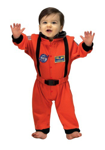 Click Here to buy Baby Orange Astronaut Romper from HalloweenCostumes, USA Funds & Shipping