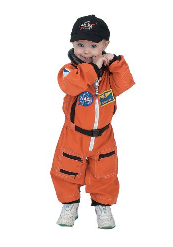 Click Here to buy Toddler Orange Astronaut Romper Costume from HalloweenCostumes, USA Funds & Shipping