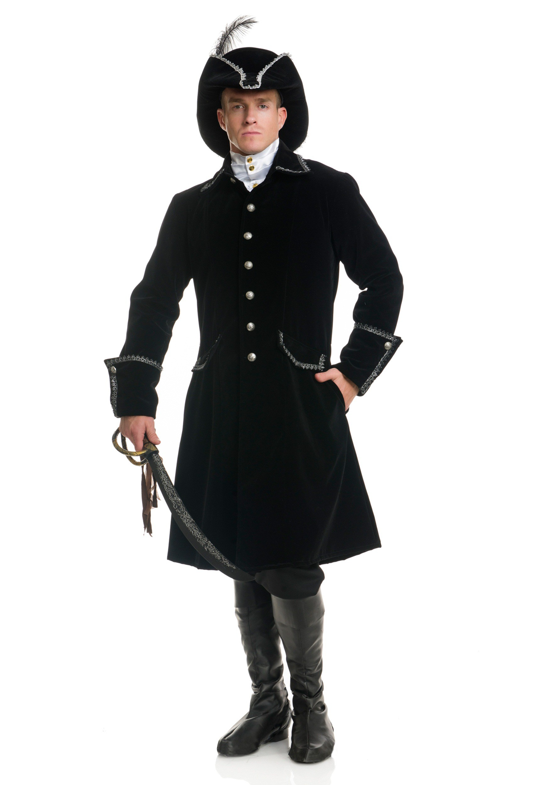 76b52b2ff52 Deluxe Black Pirate Jacket with Pockets Costume