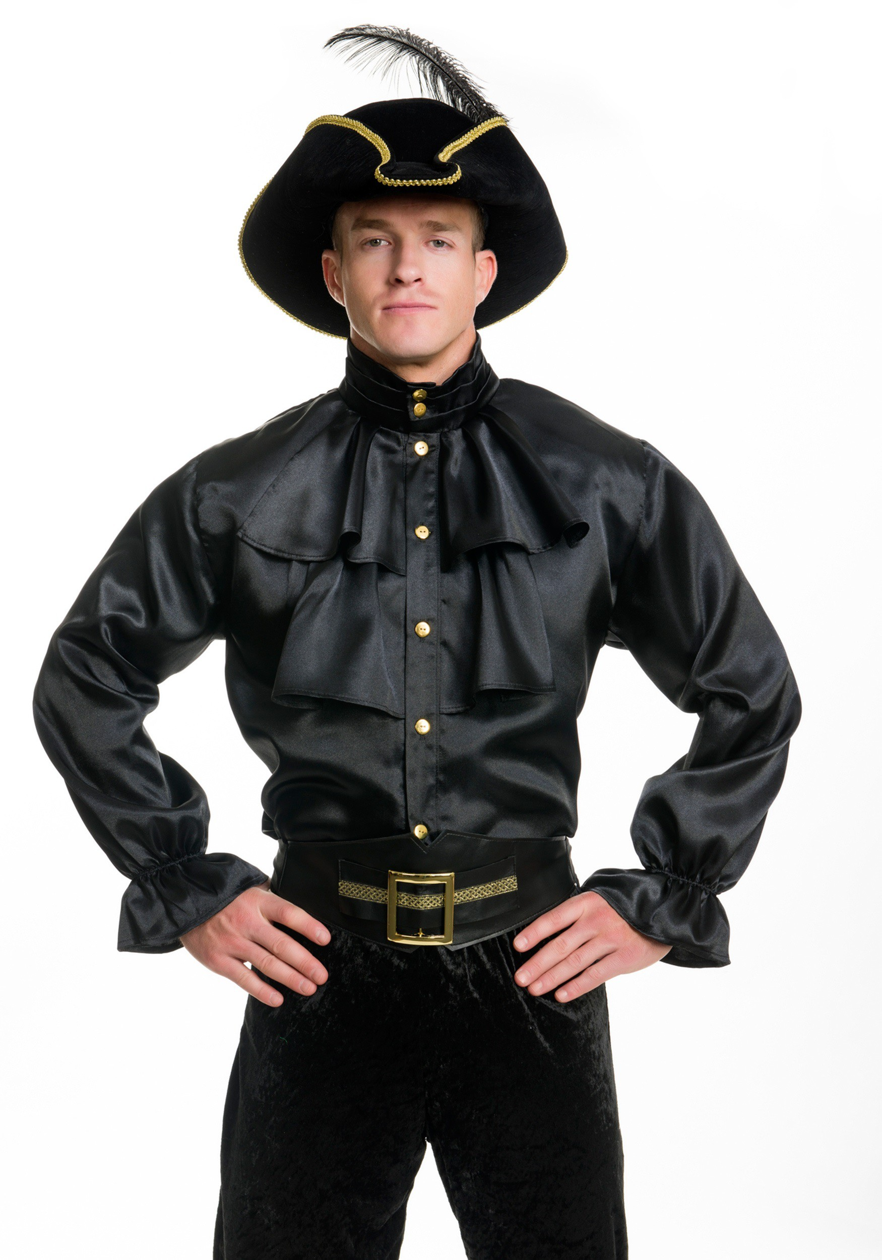 Mens black satin ruffle shirt for Frilly shirts for men