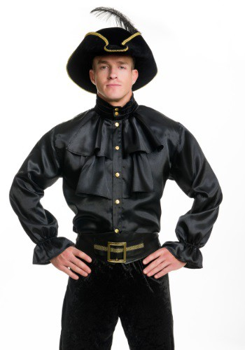 Mens Black Satin Ruffle Shirt By: Charades for the 2015 Costume season.
