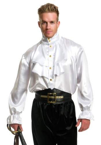Mens White Satin Ruffle Shirt By: Charades for the 2015 Costume season.
