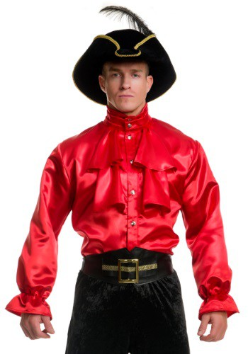 Men's Red Satin Ruffle Shirt By: Charades for the 2015 Costume season.