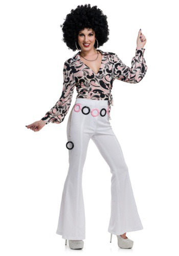 Women's White Disco Pants By: Charades for the 2015 Costume season.