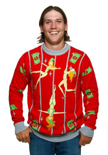 Pole Dancing Elves Ugly Christmas Sweater By: FunQi for the 2015 Costume season.