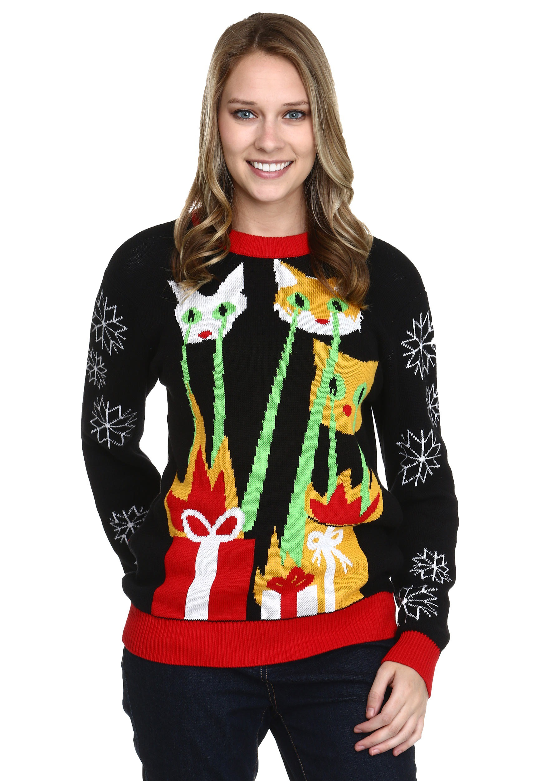 laser cat zillas ugly christmas sweater