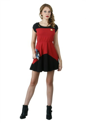 [Star Trek Starfleet Red Skater Dress] (Red Star Trek Dress)