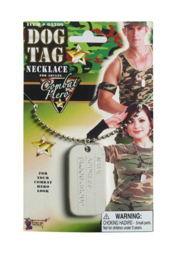 Combat Hero Dog Tags By: Forum Novelties, Inc for the 2015 Costume season.