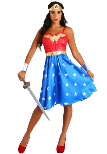 Click Here to buy Womens Deluxe Long Dress Wonder Woman Costume from HalloweenCostumes, CDN Funds