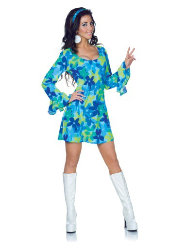Plus Size Womens 70s Wild Flower Retro Dress Costume