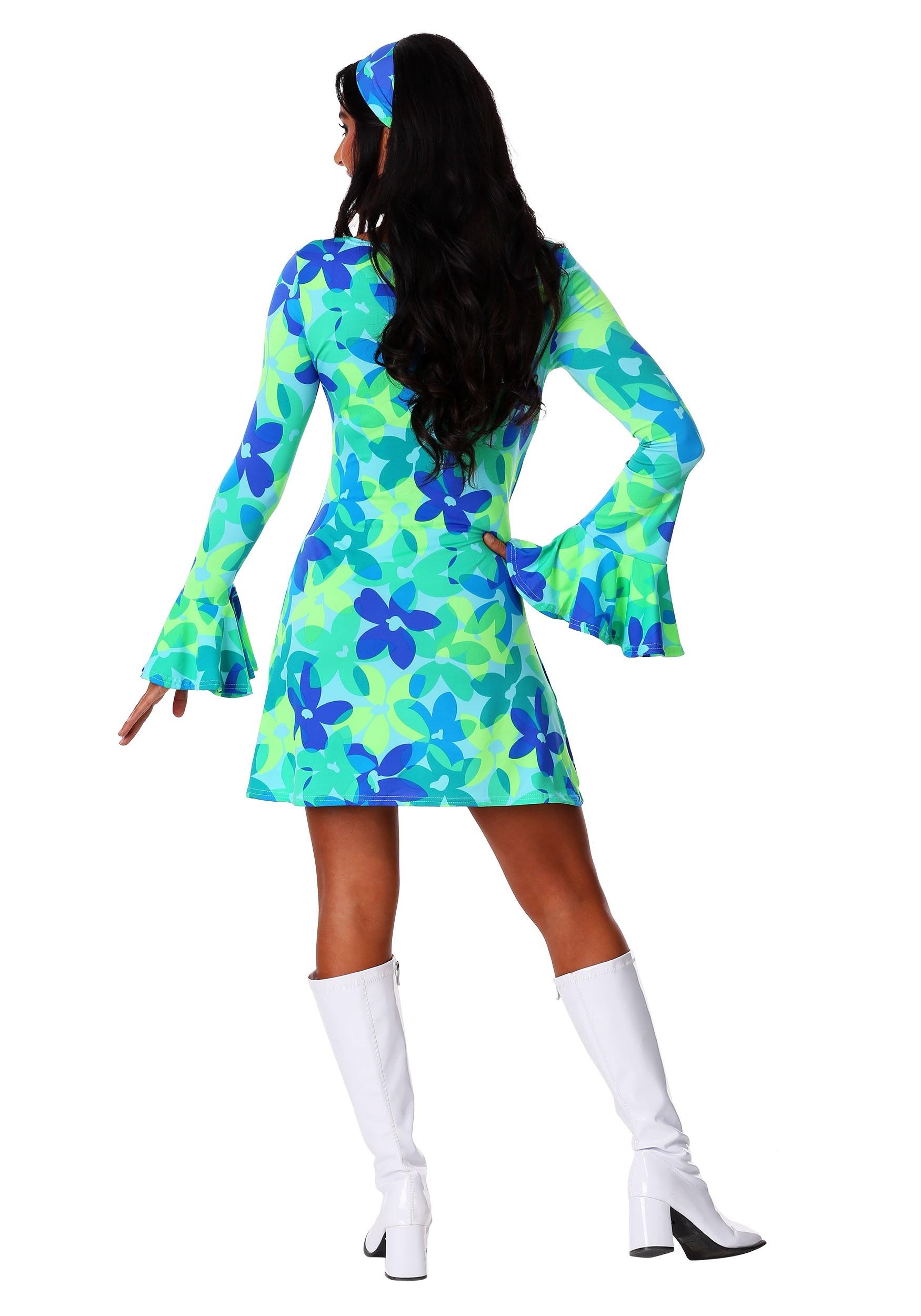 Plus Size 70s Wild Flower Retro Dress Costume for Women