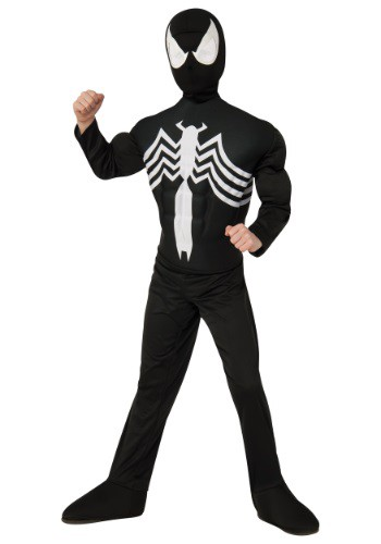 Click Here to buy Kids Ultimate Black Spider-Man Muscle Chest Costume from HalloweenCostumes, CDN Funds