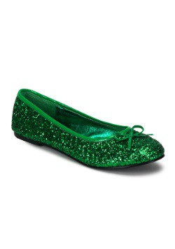 Adult Kelly Green Glitter Flat's