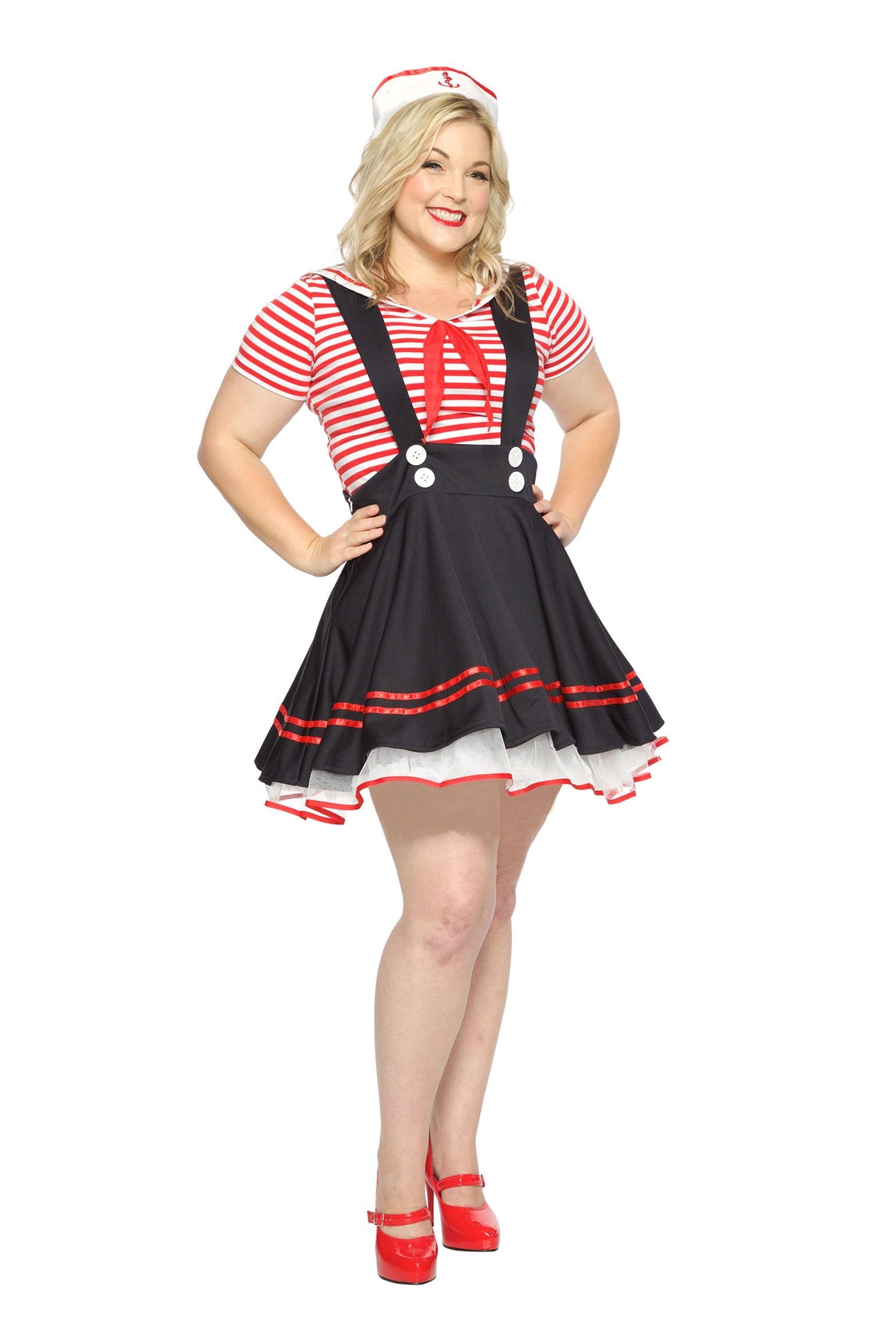 Womens Plus Size Retro Sailor Girl Costume