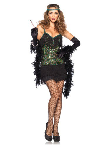 Click Here to buy Womens Feathered Flapper Costume from HalloweenCostumes, USA Funds & Shipping
