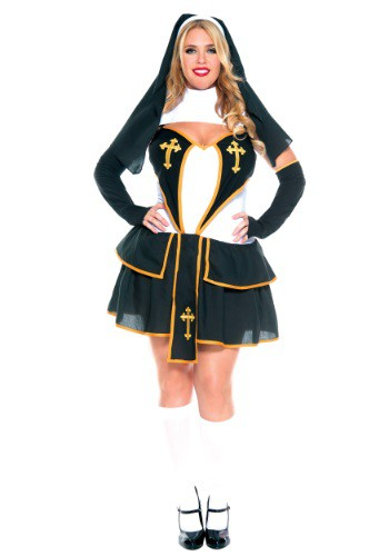 Click Here to buy Womens Plus Size Flirty Nun Costume from HalloweenCostumes, USA Funds & Shipping